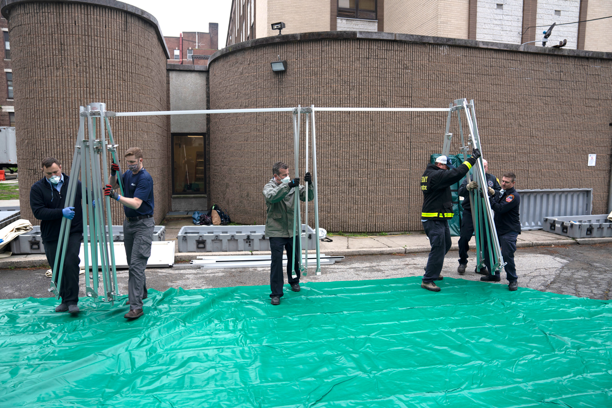 Emergency Medical Field unit construction at Flushing Hospital Medical Center (MediSys) in New York City, NY.