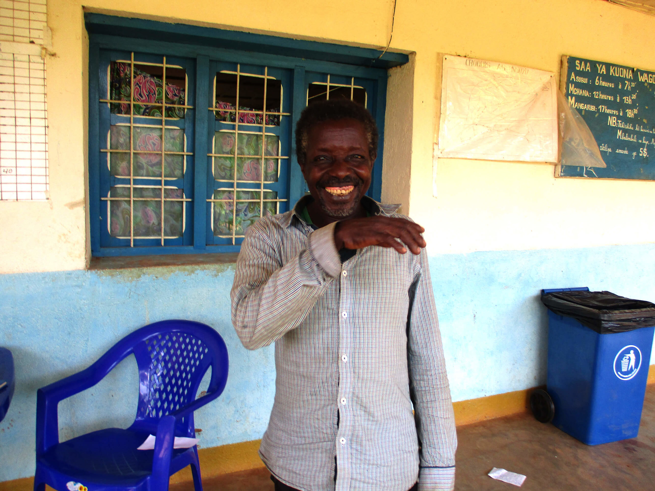 Mayongezo, a Ngoyo community member, expresses gratitude for the health education he received on how to prevent Ebola and COVID-19.
