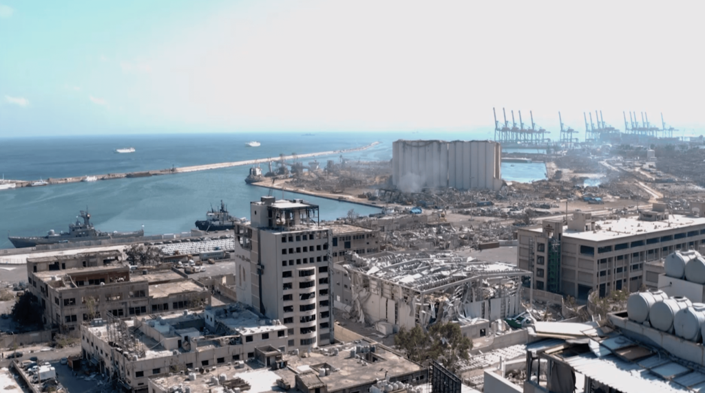 Destruction caused by the explosion in the port of Beirut on August 4, 2020.