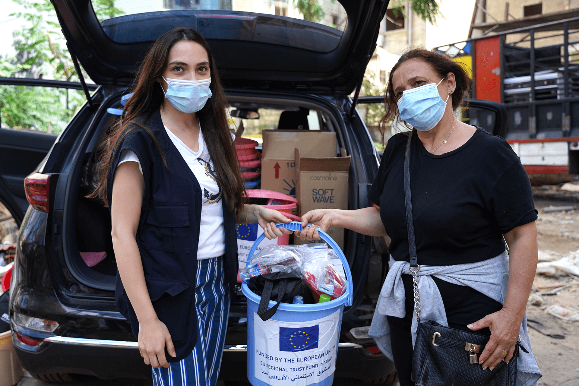 International Medical Corps distributed hygiene supplies to survivors and those working in and around the area of the explosion.