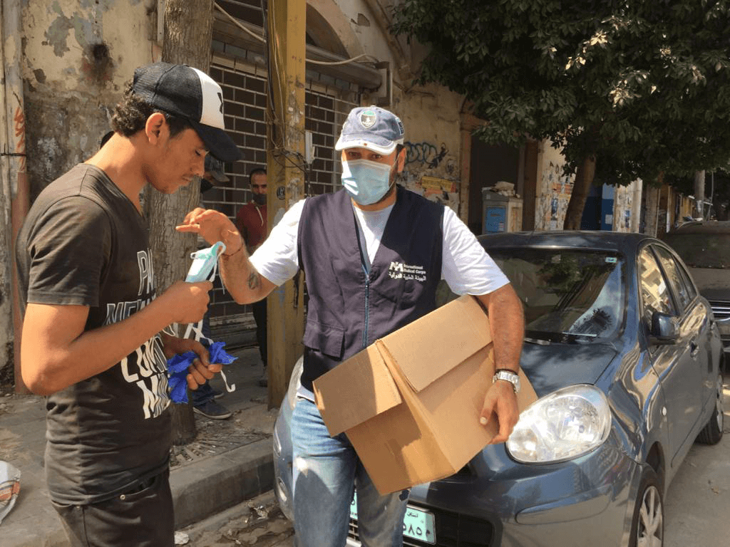 International Medical Corps distributed personal protective equipment to survivors and those working in and around the area of the explosion.