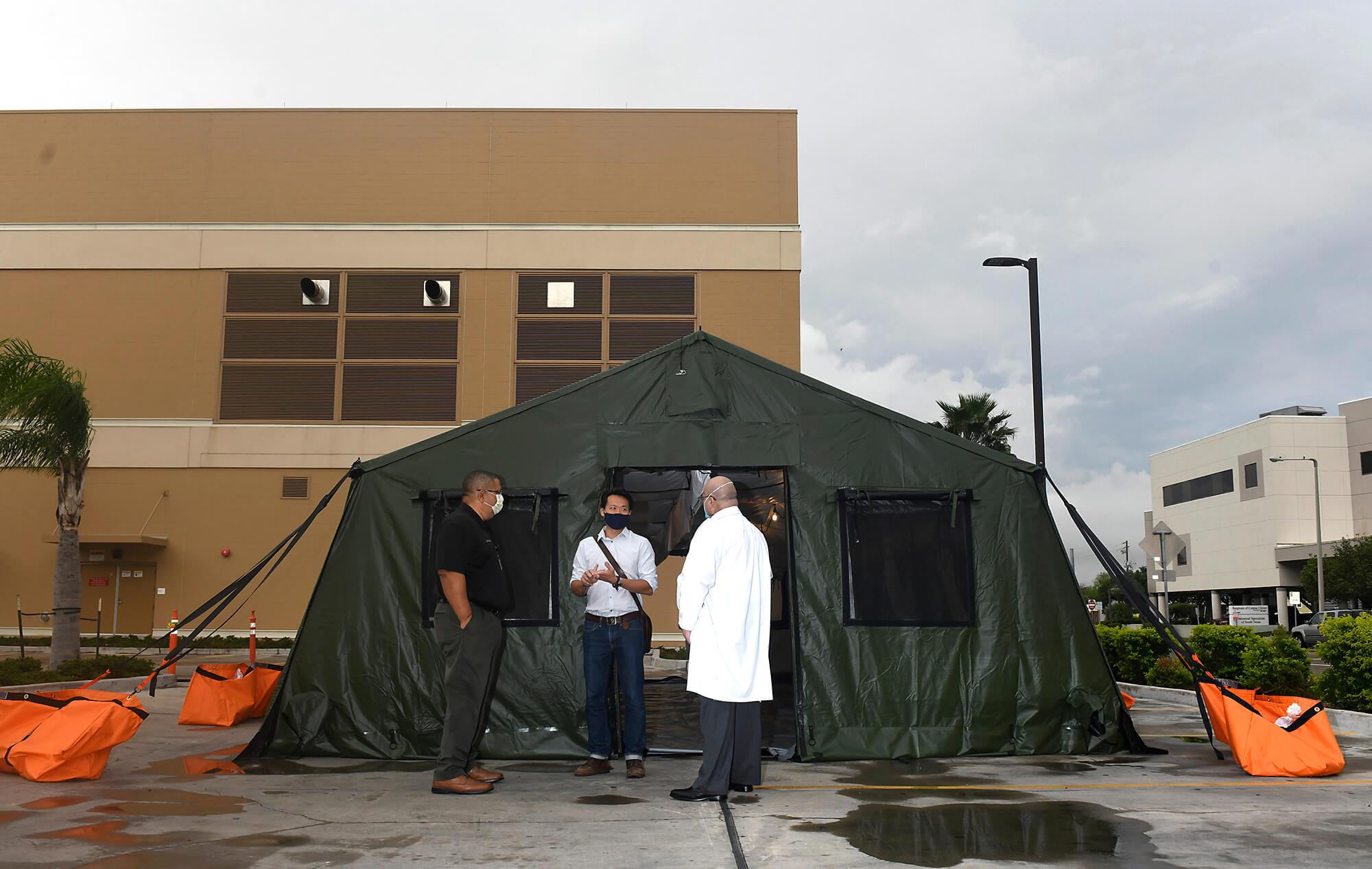 Photo courtesy Corpus Christi Caller-Times/Annie Rice photographer Walkthrough of an emergency field unit at Spohn Shoreline in Corpus Christi, Texas.