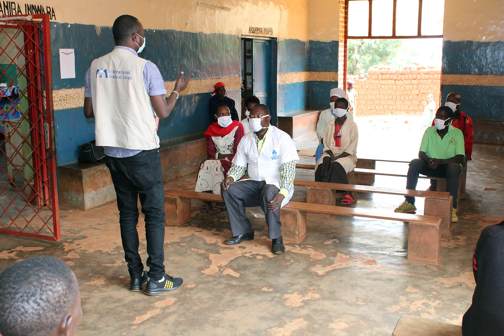 Mr. Alexis training healthcare providers on the Ministry of Health recommended handwashing techniques in Burundi.