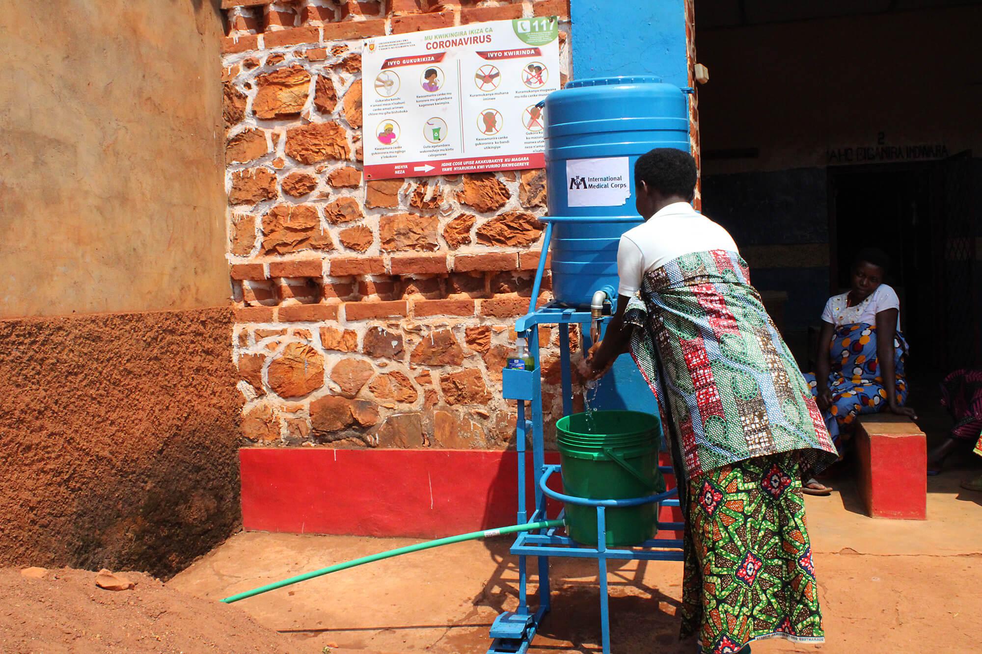 Handwashing station in Burundi.