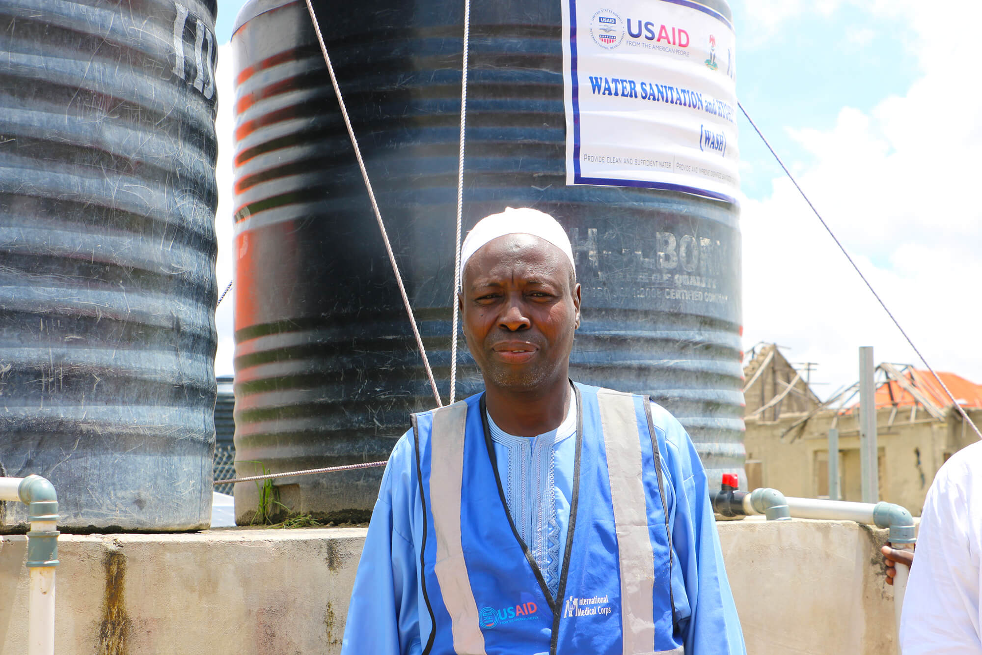 A member of the International Medical Corps' water, sanitation and hygiene (WASH) team in Nigeria.