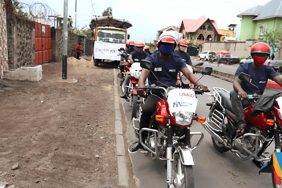 Motorcycle disease prevention caravan in Goma.