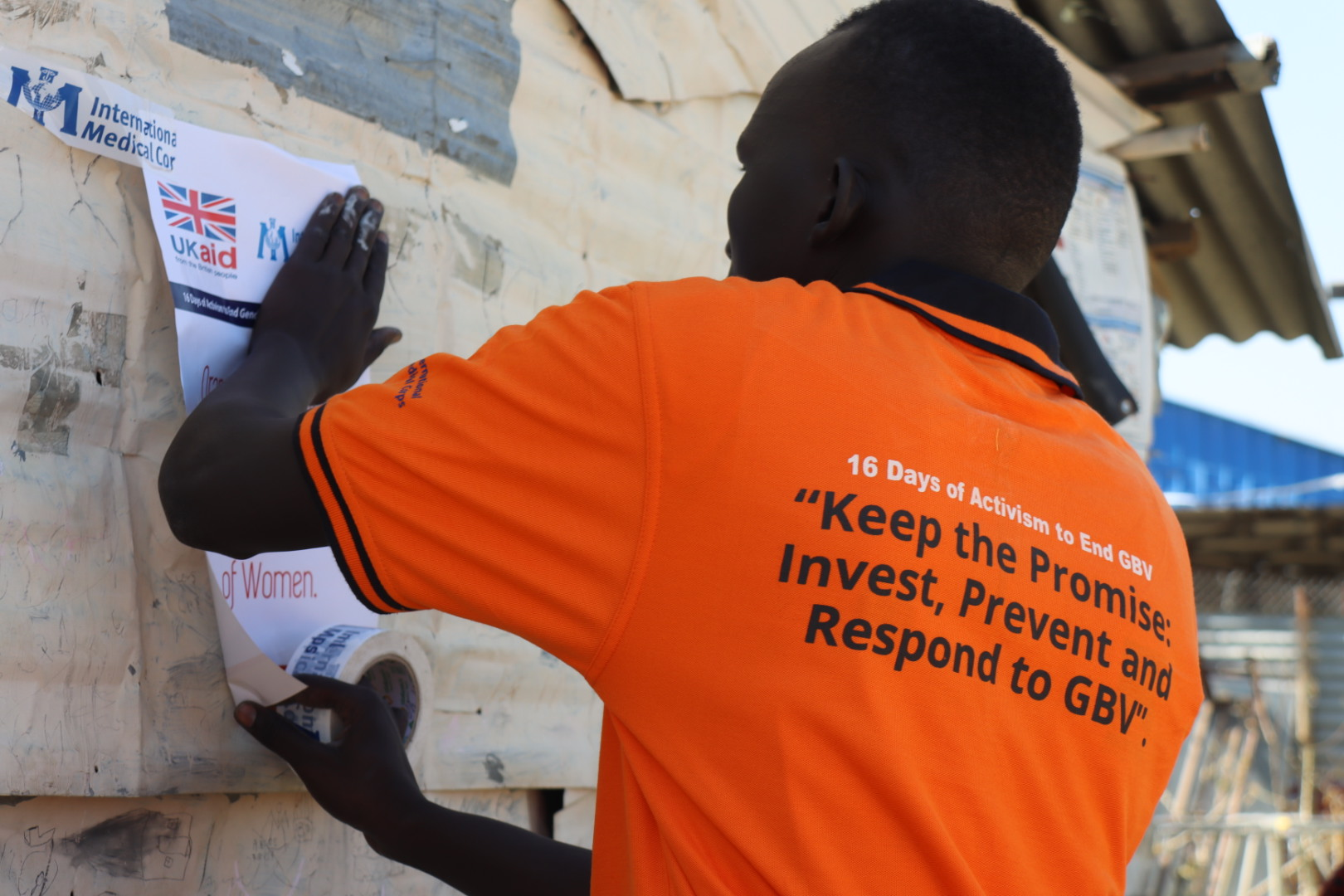 A man in Malakal participates in the 16 Days campaign.