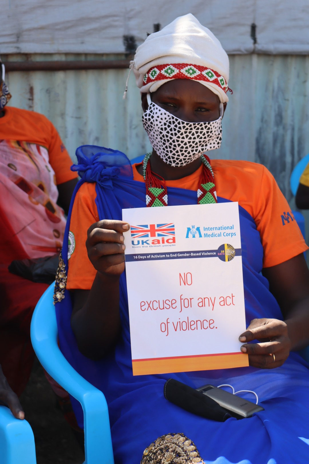 A woman in Malakal participates in the 16 Days campaign.