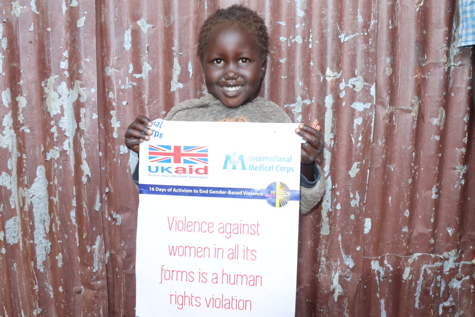 A child in Malakal participates in the 16 Days campaign.