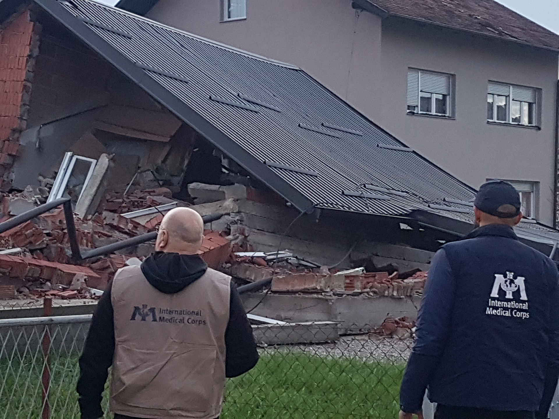 Surveying the damage of the earthquake in Zagreb, Croatia.