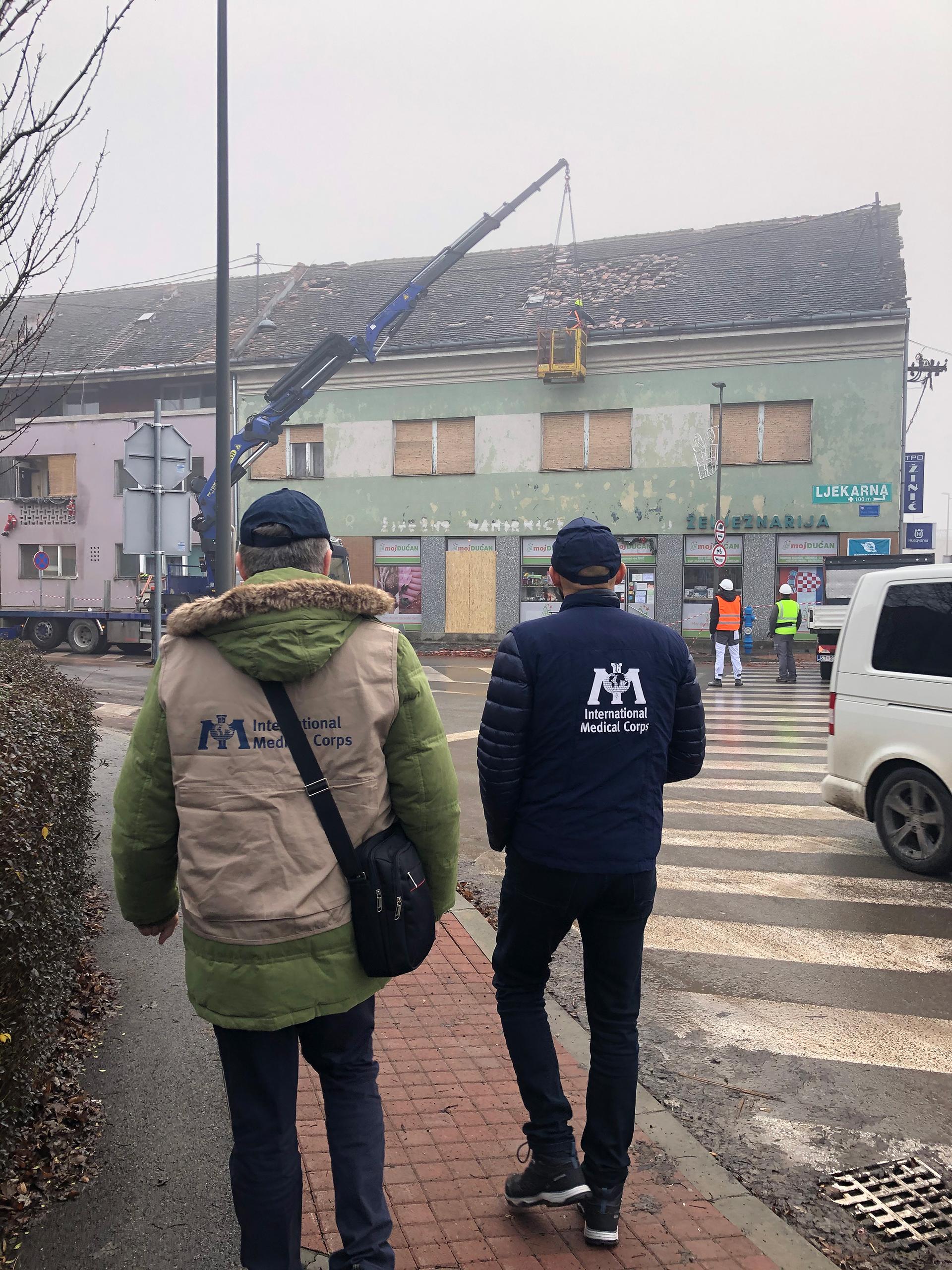 Surveying the damage of the earthquake in Glina, Croatia.