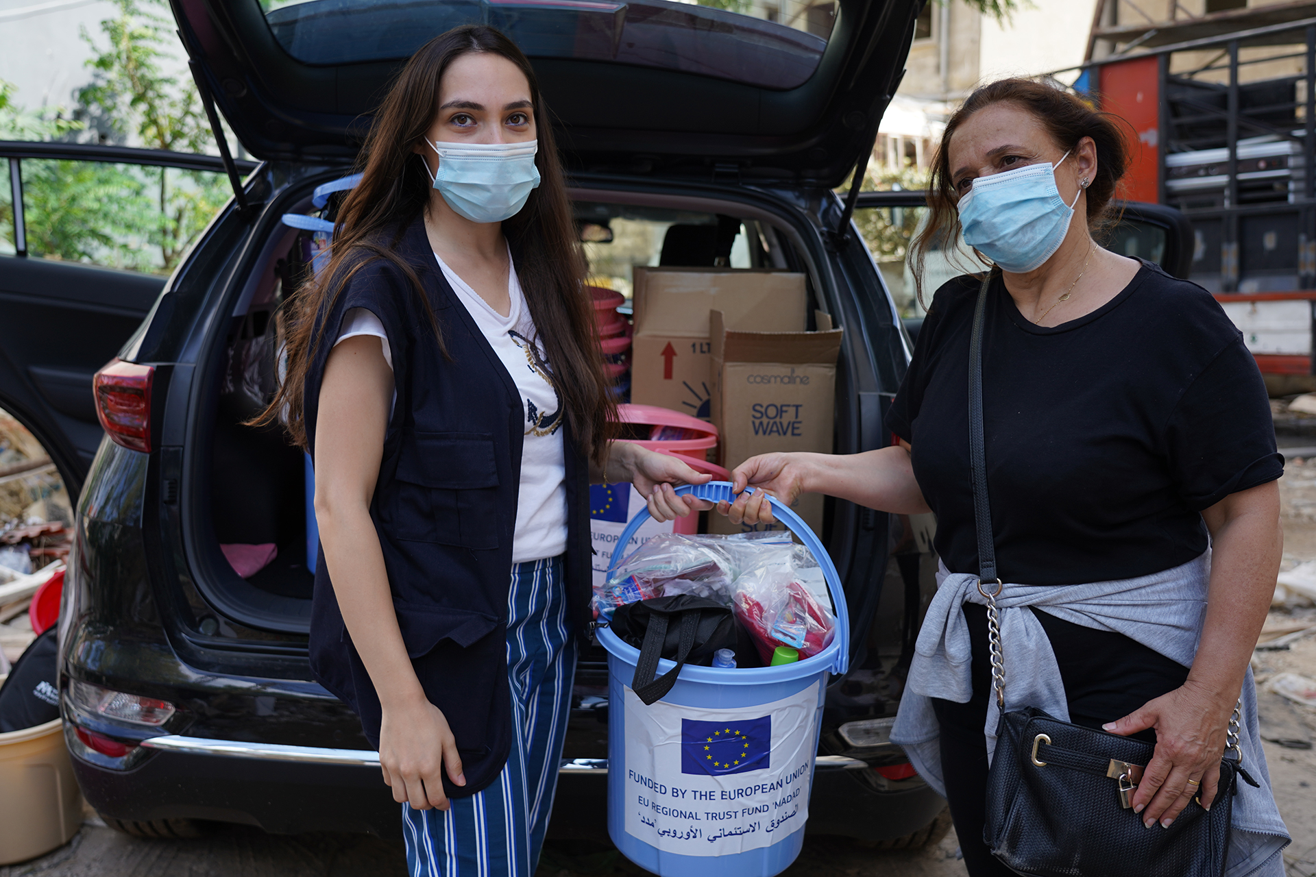 International Medical Corps distributed hygiene items throughout Beirut, Lebanon.