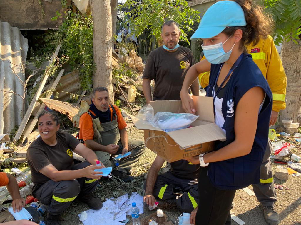 To help prevent COVID-19, International Medical Corps field teams are distributing personal protective equipment and hygiene supplies to the volunteers who are cleaning up areas in Beirut affected by the port explosion.