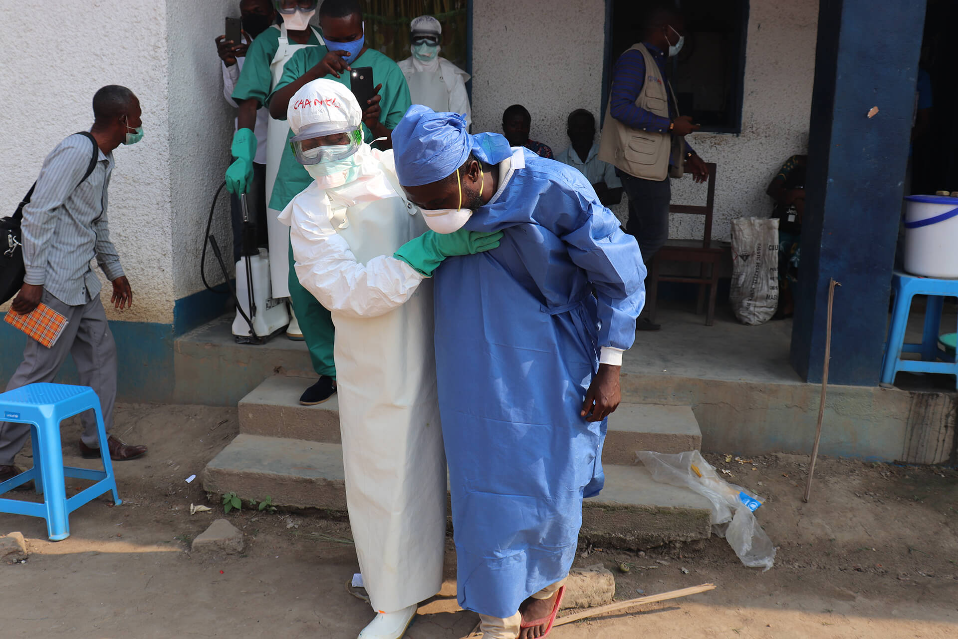 Health workers conduct simulation exercises where they interact with a patient with a suspected case of Ebola.