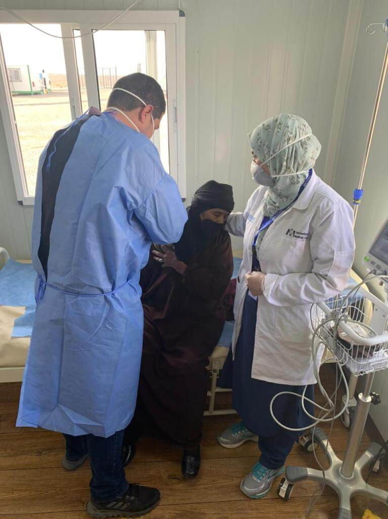 International Medical Corps staff is helping residents of Azraq camp, Jordan, register for the vaccine.