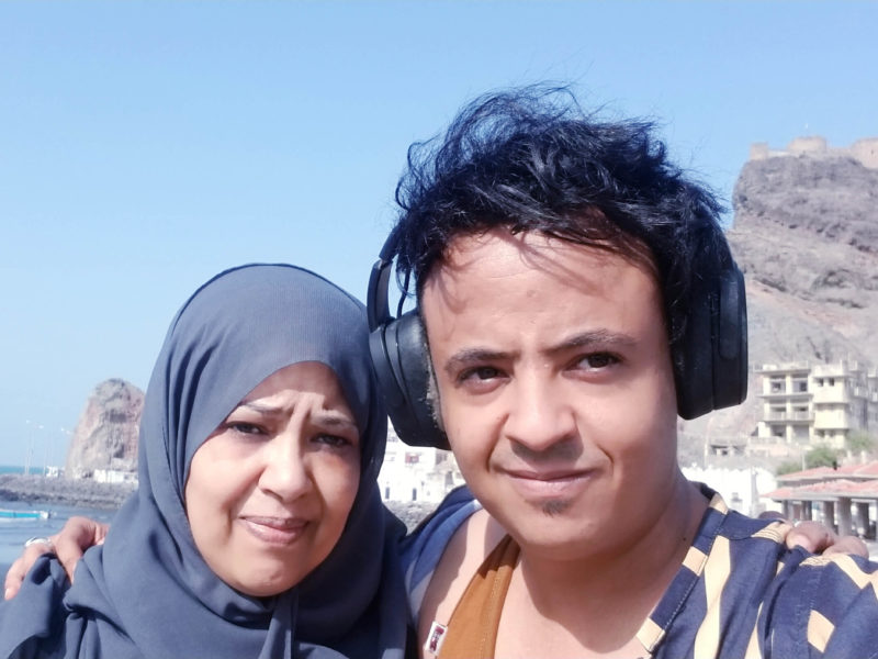 Fayad with his mother, Maryam Ahmed Saeed, during her recent visit to Aden. It took her 12 hours to make the 190-mile trip from her home in Sana'a, a journey that in more peaceful times would take just five hours.