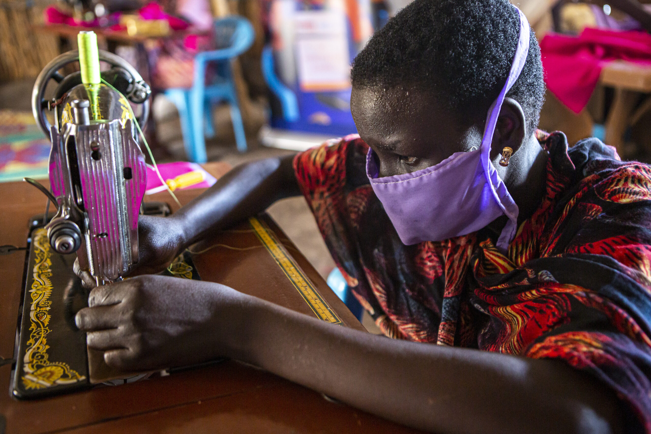 International Medical Corps trains women in different activities such as sewing or beading at the Women and Girls Friendly Space in Aburoch, South Sudan.