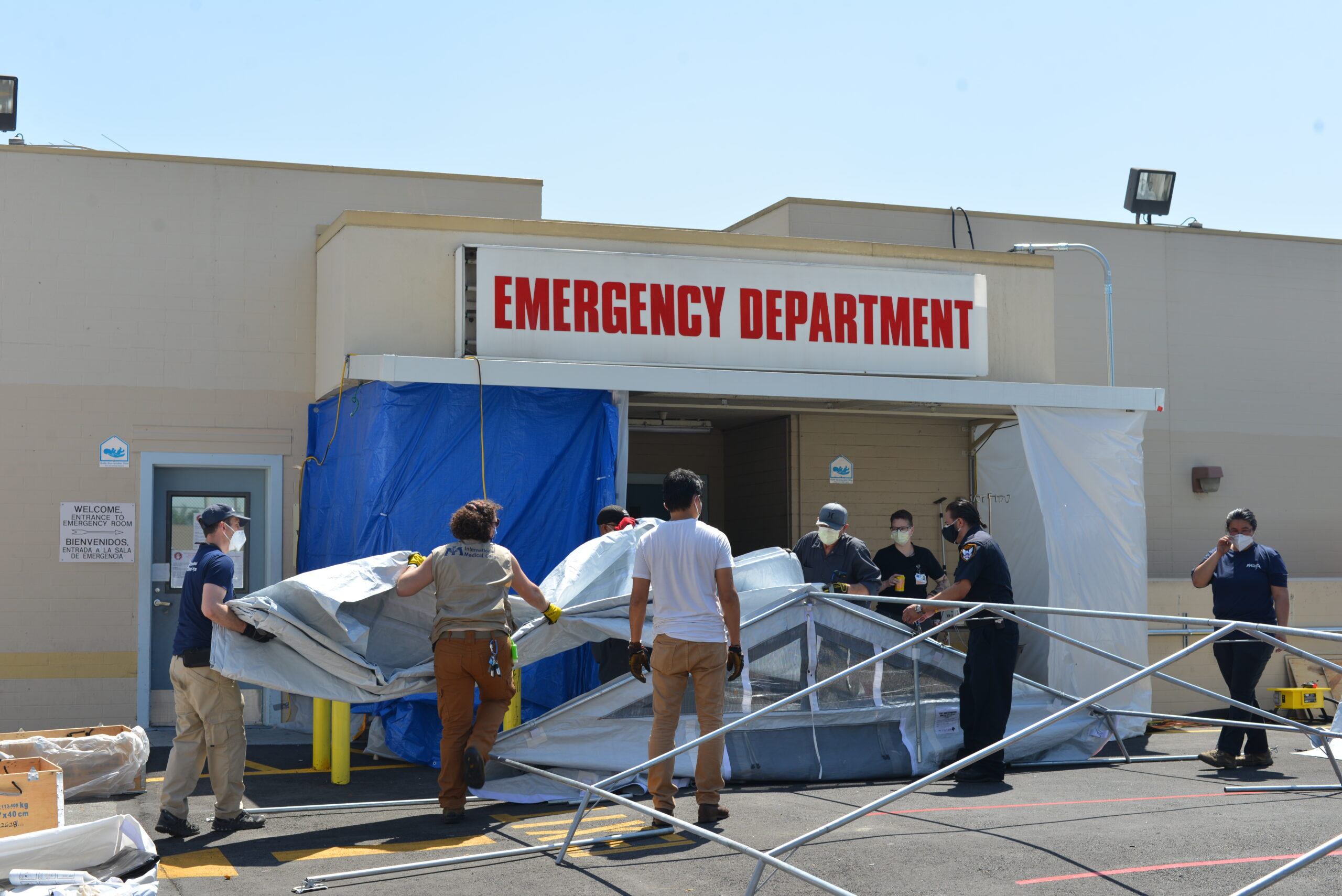 Emergency Medical Field Unit construction at East Los Angeles Doctors Hospital.