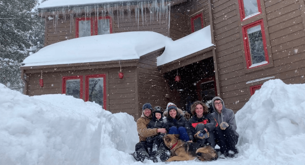 Emilie and Greg with their children at their home in Colorado, in March 2021.