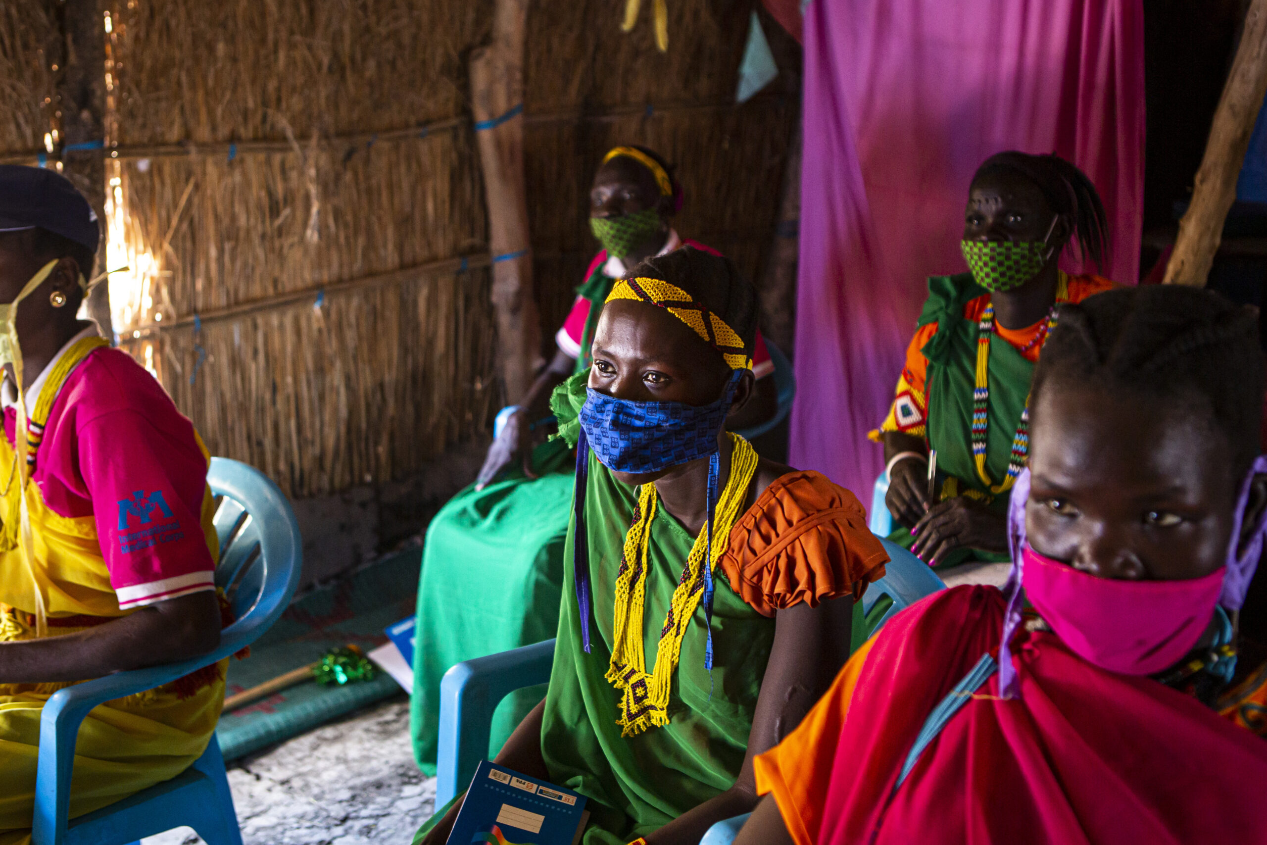 Literacy class at a Women and Girls Friendly Space in Aburoch, South Sudan, on March, 18, 2021. Every Monday and Wednesday IMC teaches women and girls different topics such as english and mathematics.