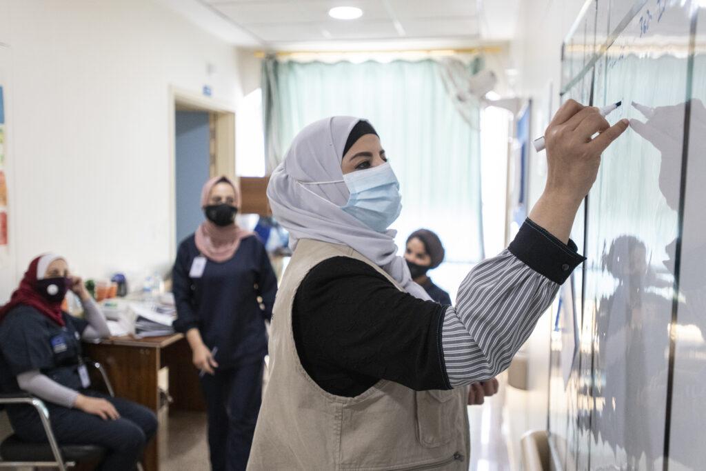 Maternity supervisor Abeer Banihani, at work in the Maternity Ward, Irbid Specialty Hospital, Irbid, Jordan.