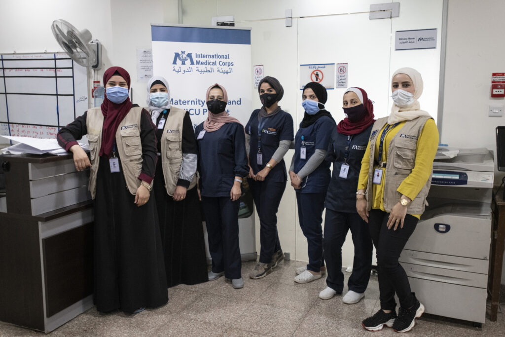 International Medical Corps staff at the Maternity ward, Irbid Specialty Hospital, Irbid, Jordan.