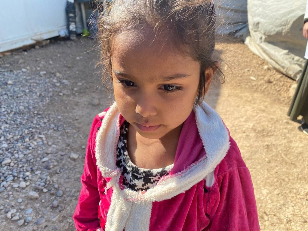 Five-year-old Zeinab at Al-Mahatta displacement camp in Iraq.