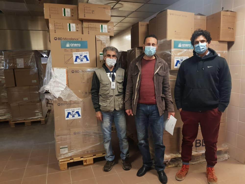 Personal protective equipment delivery to a primary healthcare center in Beirut-Mount Lebanon area by the IMC Lebanon's logistics department.