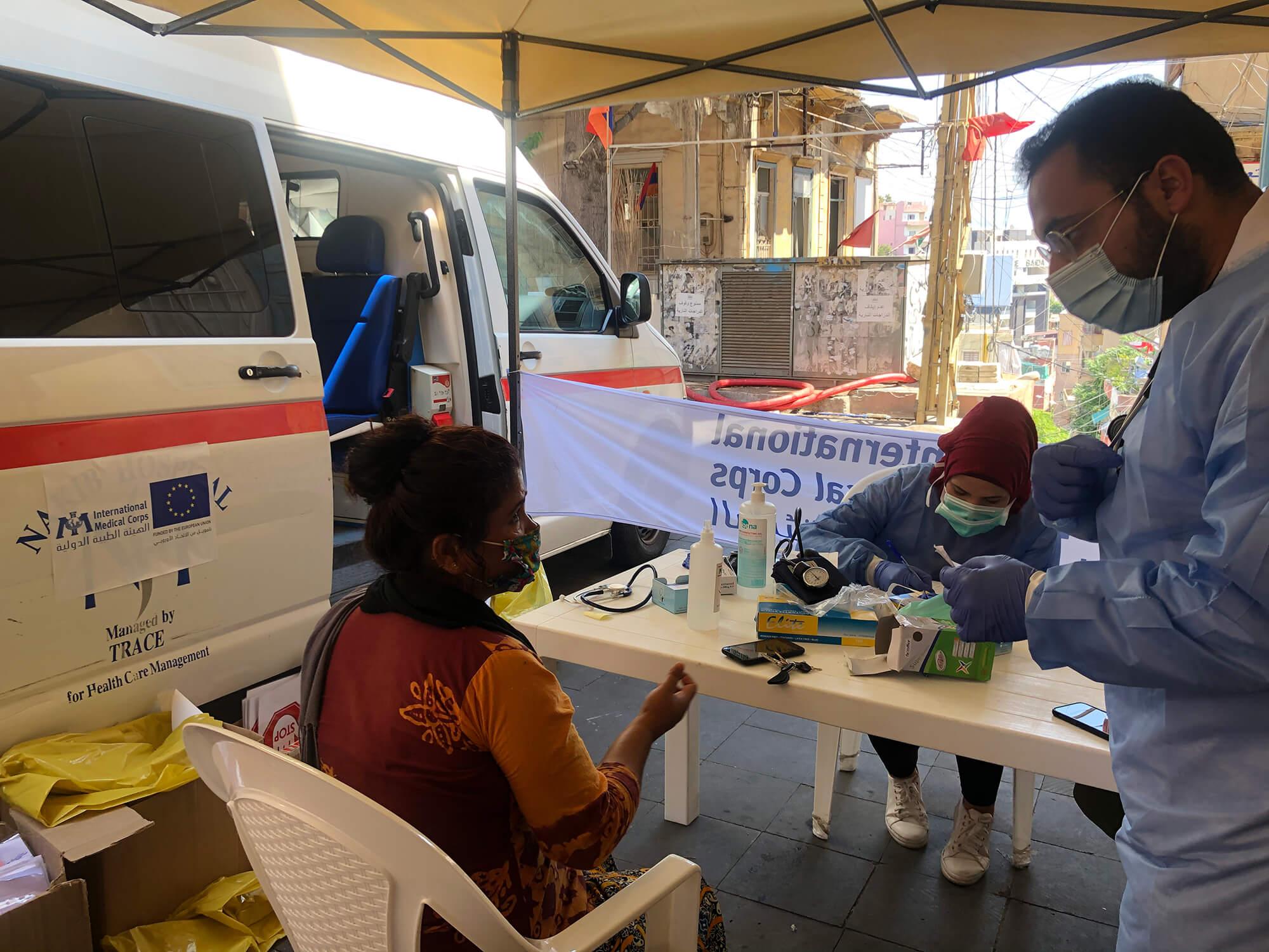 A mobile medical unit in Karm El Zaytoun.