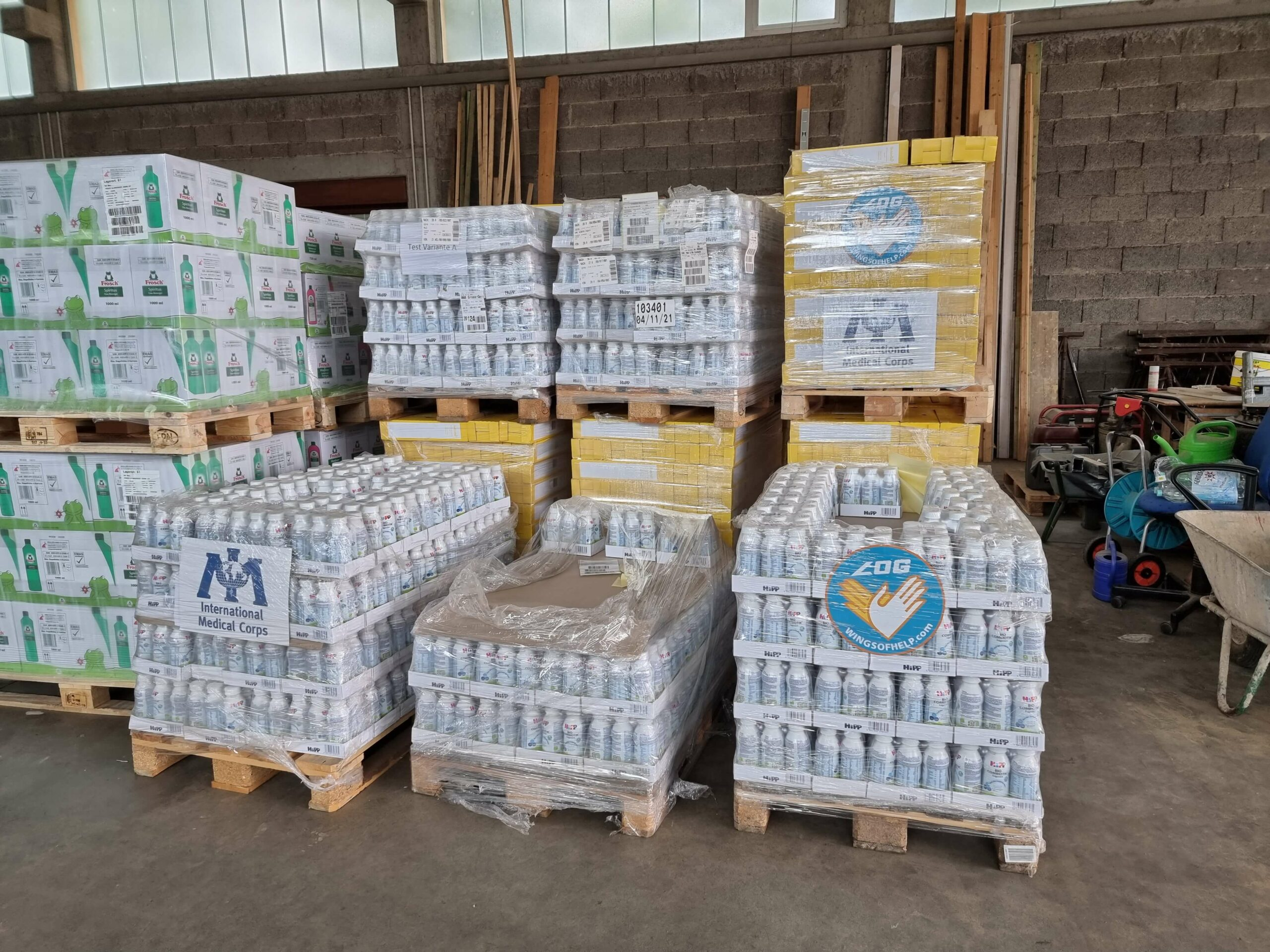 Stock delivered by LoG and International Medical Corps in distribution warehouse in Sinzig.