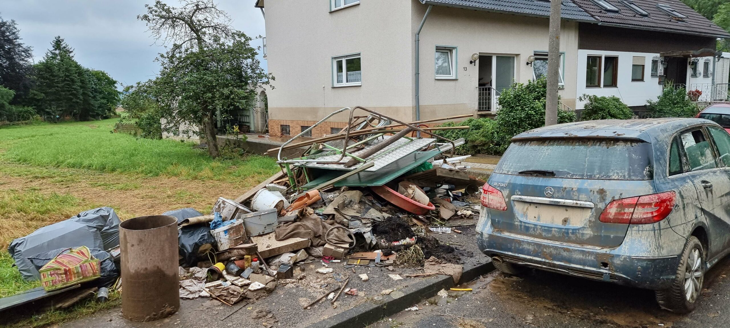 Destruction caused by flooding.
