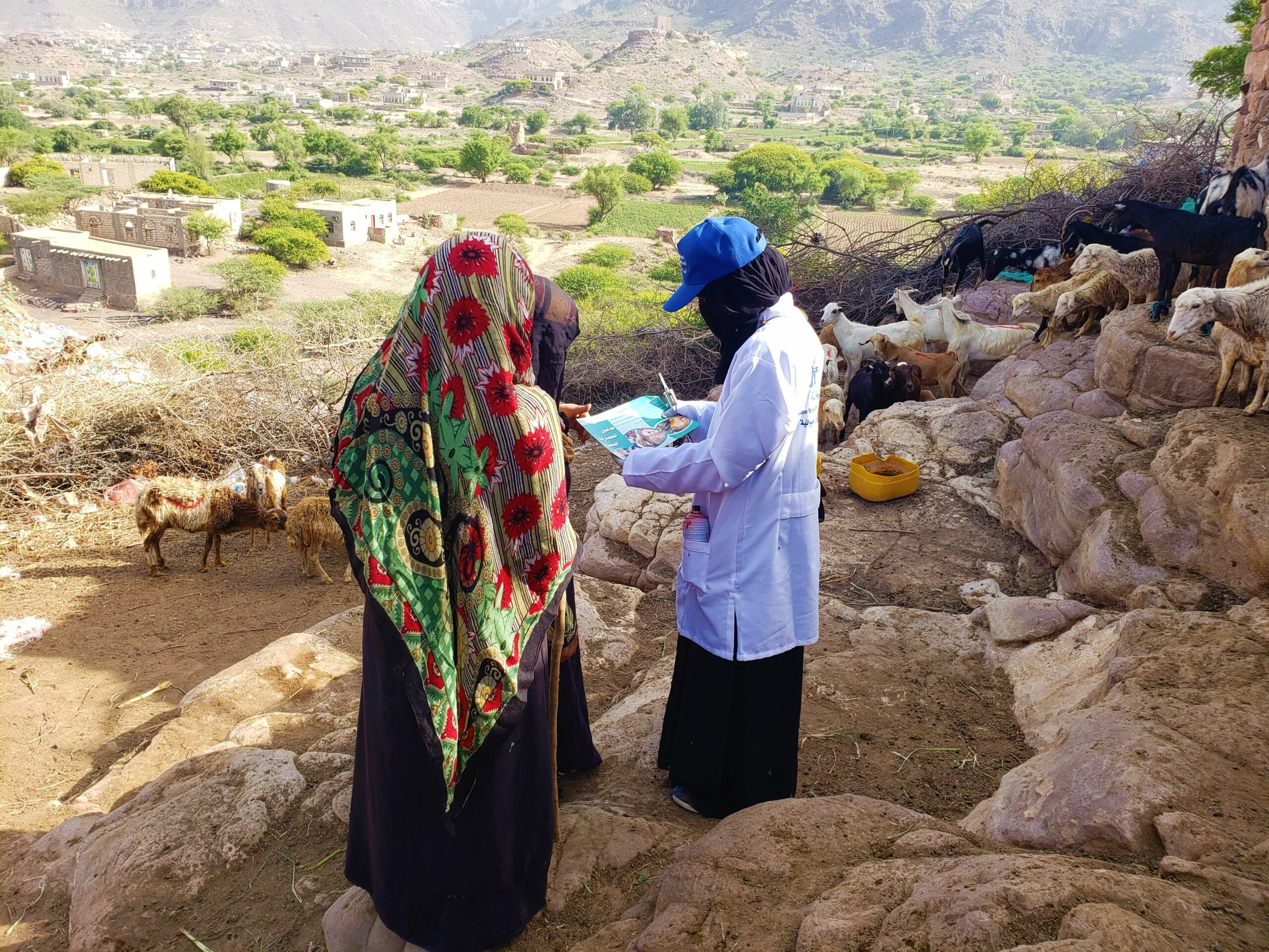 Fig. no.20 From Mass vaccination campaign in Al Hussein district (Al Qurain village) in 26th June 2021 MAI staff gives awarness to beneficiaries