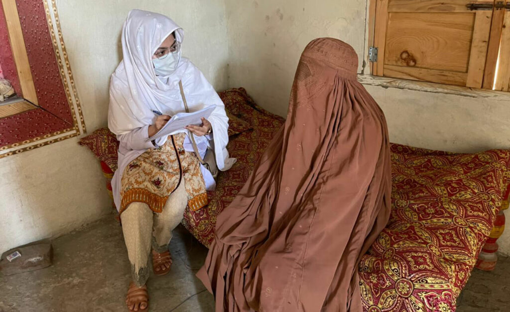 A data collector interviews a female community member.